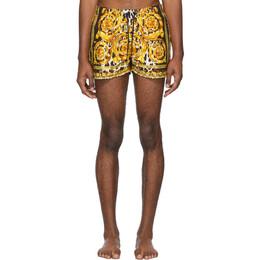 Versace Underwear Black and Yellow Barocco Swim Shorts ABU08028 A232997