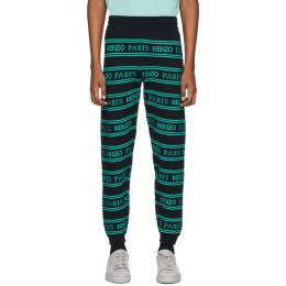 Kenzo Black and Blue All-Over Logo Lounge Pants FA55PA5063LD