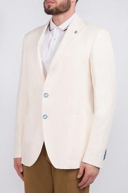 Белый пиджак с контрастными пуговицами Tagliatore 2451183533