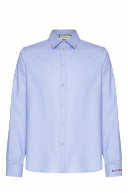 Голубая рубашка с вышивкой на манжете Gucci 470184356