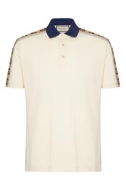 Рубашка-поло с контрастным воротником и логотипами Gucci 470184359