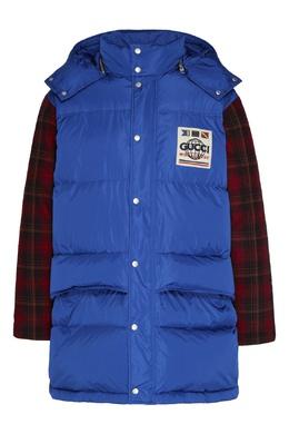 Комбинированная красно-синяя куртка с логотипом Gucci 470184362