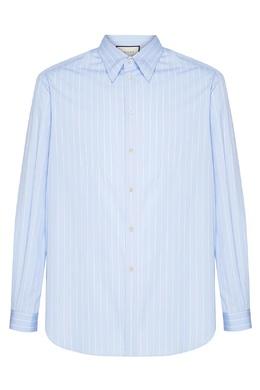 Голубая рубашка в белую полоску Gucci 470184366