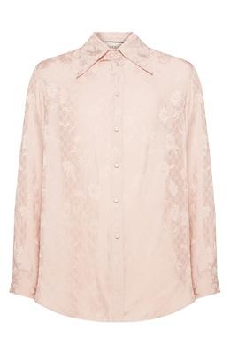 Светло-розовая жаккардовая рубашка Gucci 470184382