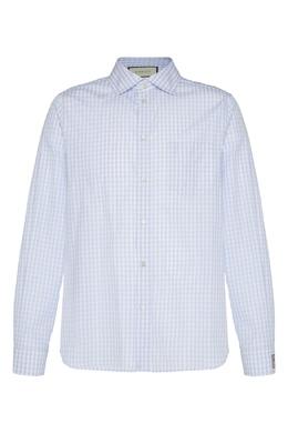 Сорочка в бело-голубую клетку виши Gucci 470184381