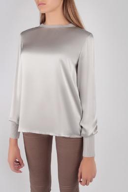 Атласная блуза серебристого цвета Escada Sport 2819184493
