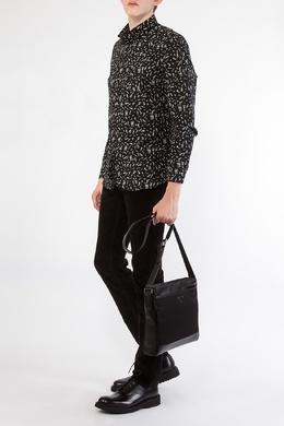 Черная рубашка с узором Prada 40183283