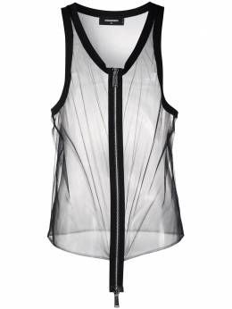Dsquared2 zip-through longline mesh tank top S71NL0040S42588