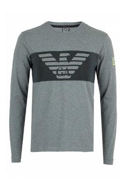 Серый лонгслив с логотипами бренда Ea7 2944184692