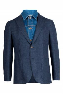Серо-синий двухслойный пиджак Eleventy 2014184661