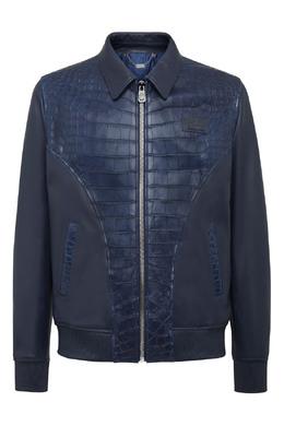 Синяя кожаная куртка Billionaire 1668184619