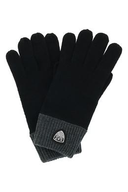 Черные перчатки с серыми манжетами Ea7 2944184727