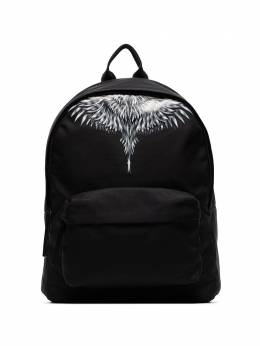 Marcelo Burlon County Of Milan black Wings canvas printed backpack CMNB006S20FAB0011001