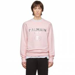 Balmain Pink and Silver Logo Sweatshirt TH03279J078