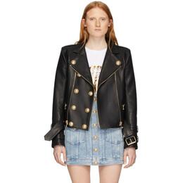 Balmain Black Leather 6-Button Biker Jacket TF18248L014