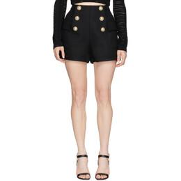 Balmain Black High-Waist 6-Button Shorts TF15001V090