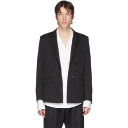 Sulvam Black Wool Double-Breasted Blazer SL-J01-100