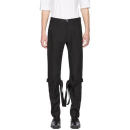 Sulvam Black Linen Belt Bandage Trousers SL-P09-200