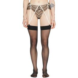 Kiki De Montparnasse Black and Beige Lace Allover Garter Belt 201-GB-002