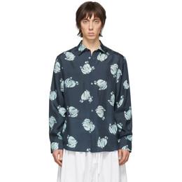 Lanvin Navy Silk Straight Shirt RM-SI0326-4185-P20