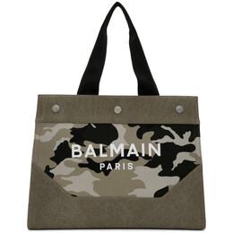 Balmain Green B-Soft Logo Tote TM1S080TCMW
