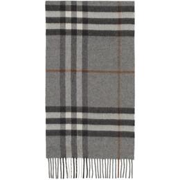 Burberry Grey Cashmere Classic Check Scarf 8016395