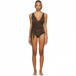 Lisa Marie Fernandez Black and Brown Zebra Dree Louise One-Piece Swimsuit 2020RES097 ZEC