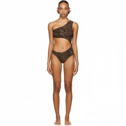 Lisa Marie Fernandez Black and Brown Zebra Eugenie One-Piece Swimsuit 2020RES273 ZEC