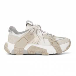 Valentino White and Off-White Valentino Garavani Wod Panelled Low-Top Sneakers TY2S0C75CDK