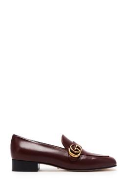 Коричневые лоферы с монограммой Double G Gucci 470184955