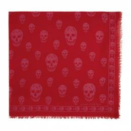 Alexander McQueen Red and Pink Orient Skull Scarf 5577174943Q