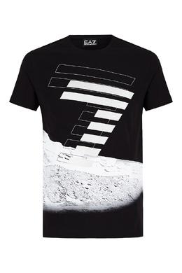 Черная футболка с крупным принтом Emporio Armani 2706184087
