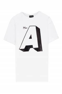 Белая футболка с черным логотипом Emporio Armani 2706185039