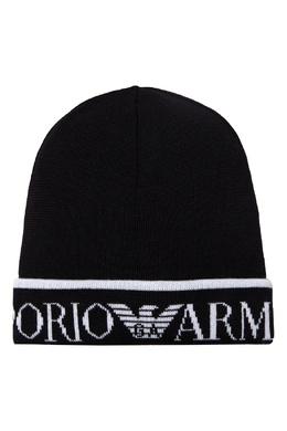 Черная шапка с белым логотипом Emporio Armani 2706185045