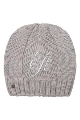 Серая шапка бини с вышитым логотипом Emporio Armani 2706185042