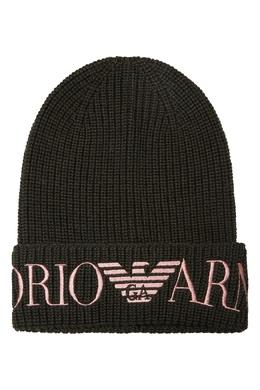 Зеленая шапка с розовым логотипом Emporio Armani 2706185043