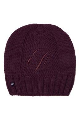 Фиолетовая шапка бини с вышитым логотипом Emporio Armani 2706185046