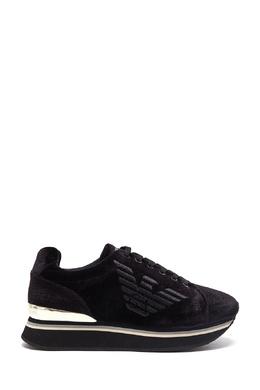 Черные бархатные кроссовки Emporio Armani 2706185048