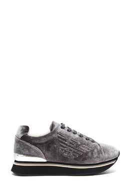 Серые кроссовки из бархата Emporio Armani 2706185049