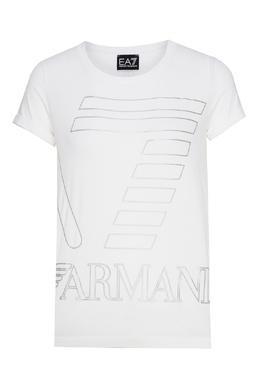 Белая футболка с черным принтом Emporio Armani 2706183939