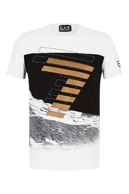 Белая футболка с контрастным принтом Emporio Armani 2706184084